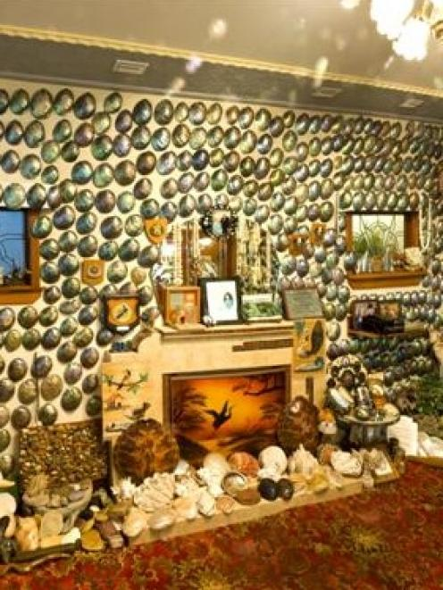 <br />Canterbury Museum's depiction of the Fluteys' lounge in the  paua house at Bluff. Photo by...