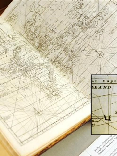 """A 1744 map of the world by Emanuel Bowen with """"New Zeeland"""" inset. Photo by Stephen Jaquiery."""