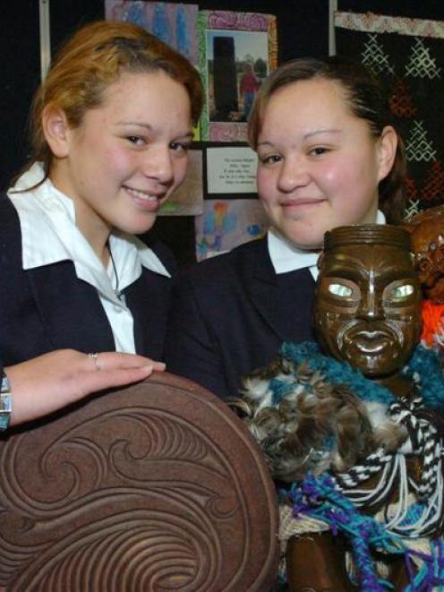 Nadia Jennings (12, left) and Freedom Te Moananui (15), of Te Kura Kaupapa Maori O Otepoti School...