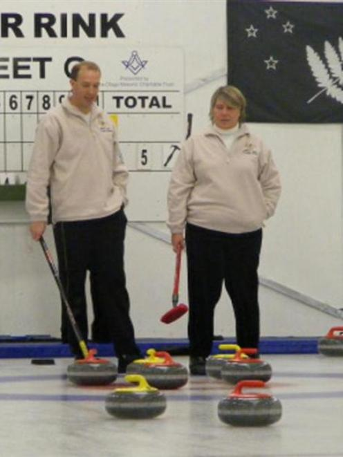 The Queensland mixed doubles team of Gerald Chick (left) and Jenn Thomas at the Naseby...