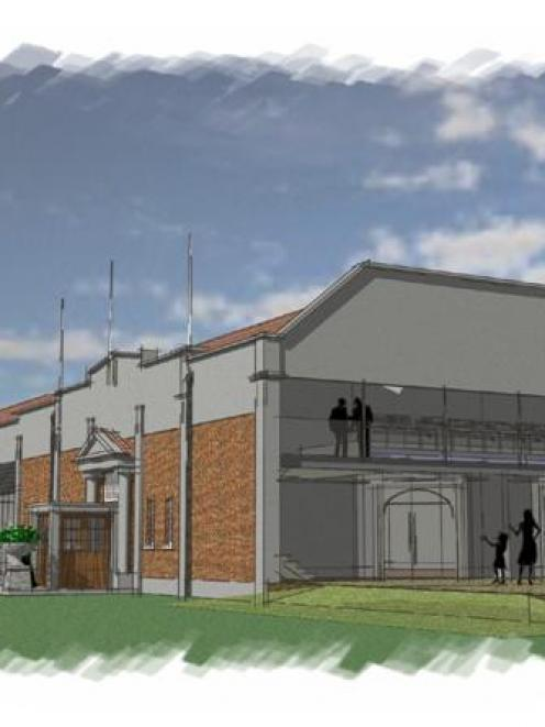 ... and a new spectator balcony and gable at the southwest corner as well as the plans below.