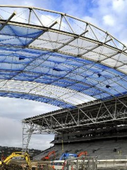 The first sections of 20,558 square metres of ETFE (ethylene tetrafluoroethylene) that make up...