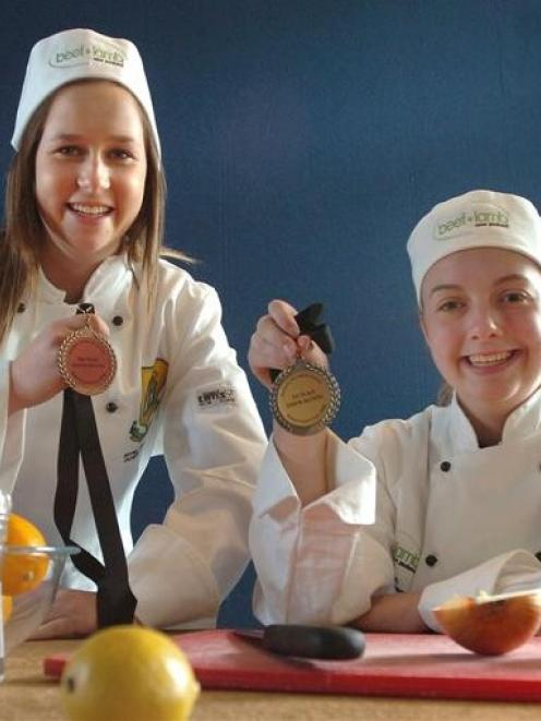 Bayfield High School food technology pupils Catherine Stringer (16), left, and Rebecca Peace (14)...