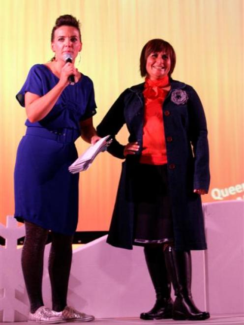 Chris Hall (right), of Queenstown, is interviewed by compere Emma Lange during the fashion parade...