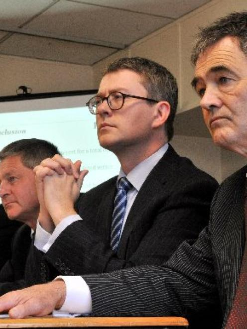 Details of the Forsyth Barr Stadium budget blowout were revealed yesterday by (from left)...