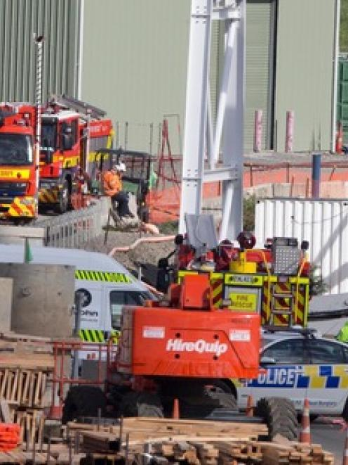 Emergency Services at the scene after a chemical spill at the South Western corridor construction...