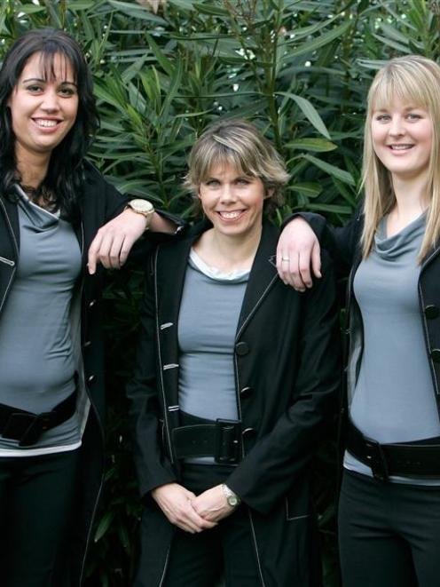 (From left) Daneka Wipiiti, Julie Seymour and Katrina Grant after being named in the Silver Ferns...