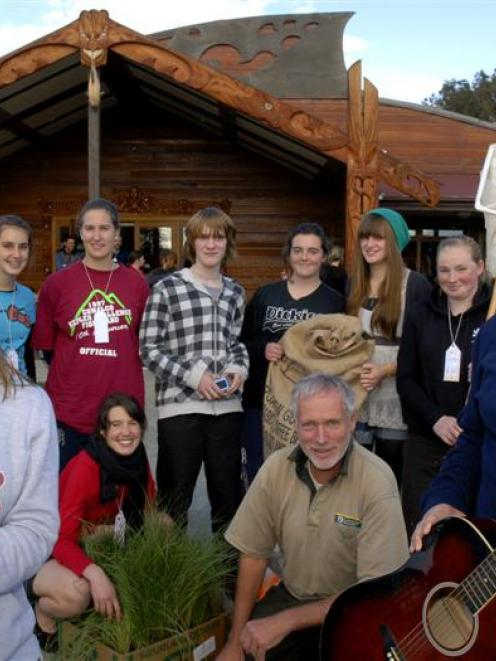 (From left) Mercy Walker (15), of Logan Park High School, Julia Stevens (14) and Jessica Wilkie ...