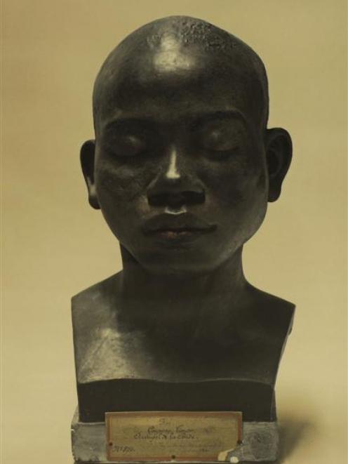 <i>Portrait of a life cast of Koe [painted]</i>, by Fiona Pardington.