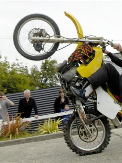 Ian Soanes, of Cardrona,  rides down Dunedin's  Baldwin St on one wheel in 2010. The bike is one...