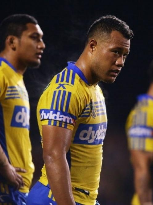 Joseph Paulo of the Eels looks dejected after a Panthers try during the round 12 NRL match...