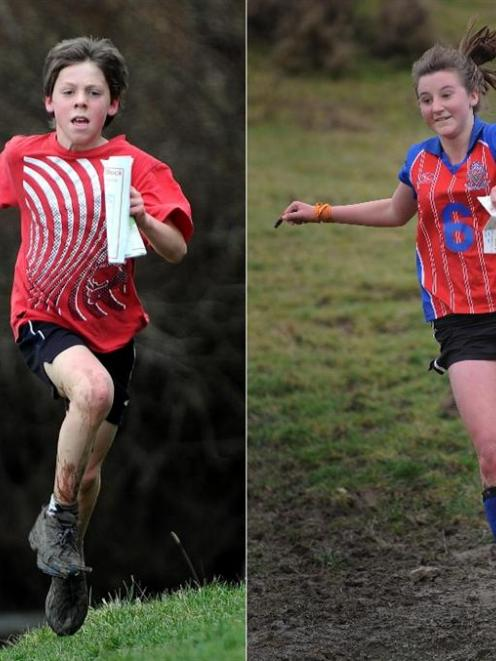 (Left) Malachi Buschl (11), of Outram School, competes in the national schools orienteering...