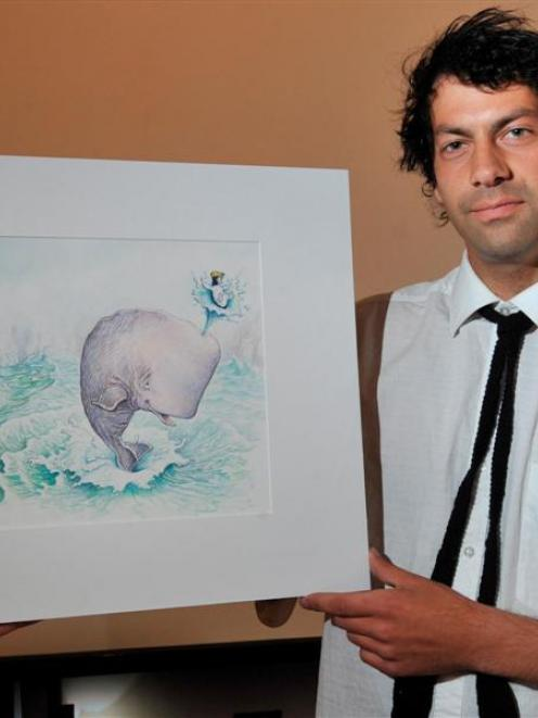 ''Oil on Canvas'' co-ordinator Ted Whitaker prepares to hang The Adventures of Sydney Penguin...