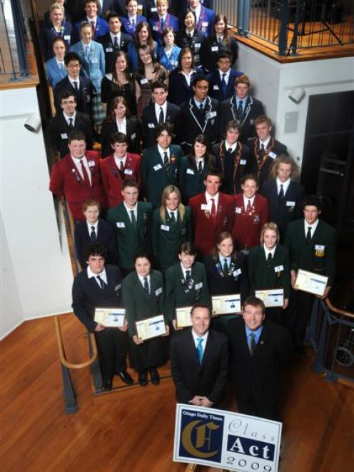 'Otago Daily Times' Class Act 2009 award recipients gather at the Dunedin Public Art Gallery...