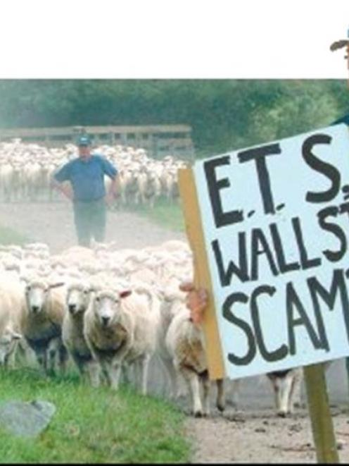 """""""The ETS is based on politics, not on facts."""" - Lovell's Flat sheep farmers and Balclutha protest..."""