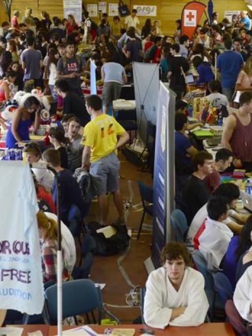 Students pack the OUSA Recreation Centre for Clubs Day yesterday. Photo by Peter McIntosh.