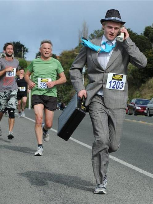 """Yuppy"" Sam Timbs competes in the Dunedin half marathon last Sunday. He finished 199th in the..."