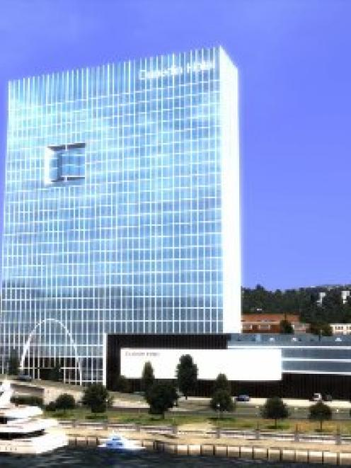 A 2012 visual rendering of the planned hotel