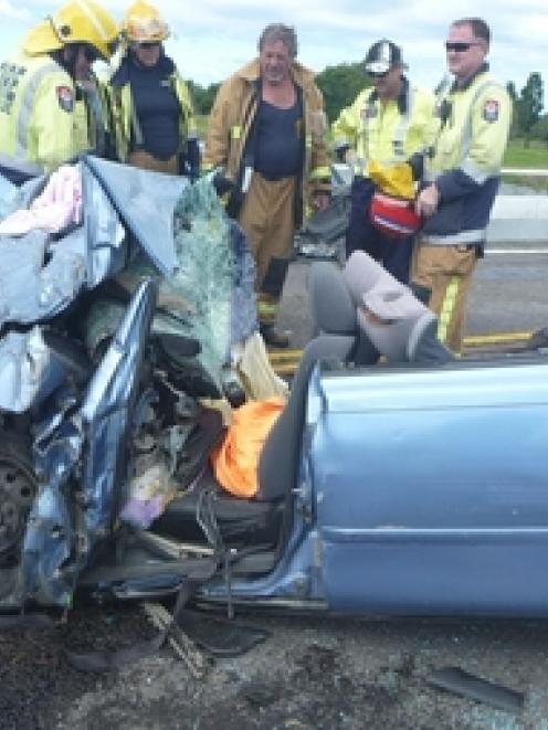 A baby died and three people were injured when this car crashed into a truck. Photo / TrustPower...