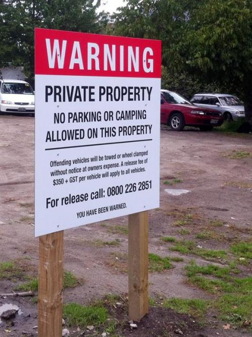 A bare section in Queenstown's Park St was  vacated by freedom campers after this sign was...