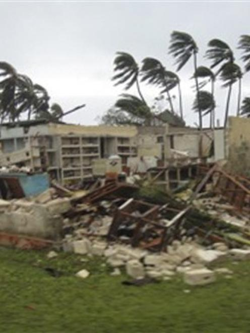A building at the Are Tamanu Resort on the atoll of Aitutaki in the Cook Island damaged after...