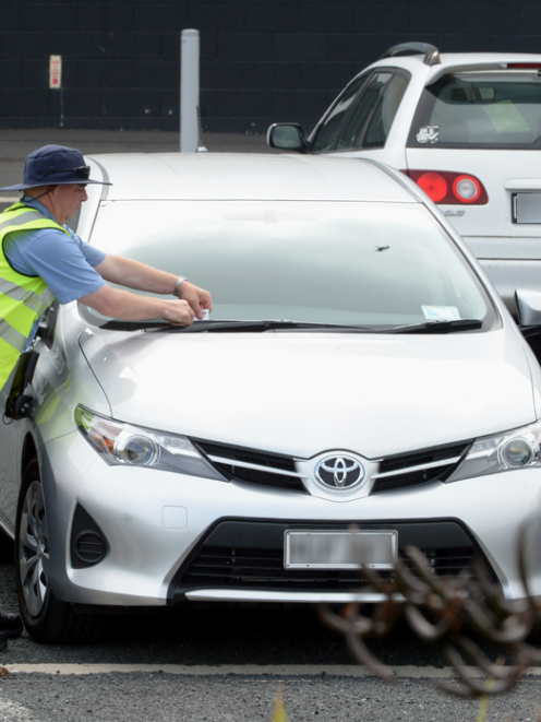 A car is ticketed at Forsyth Barr Stadium yesterday. Photo by Gerard O'Brien.