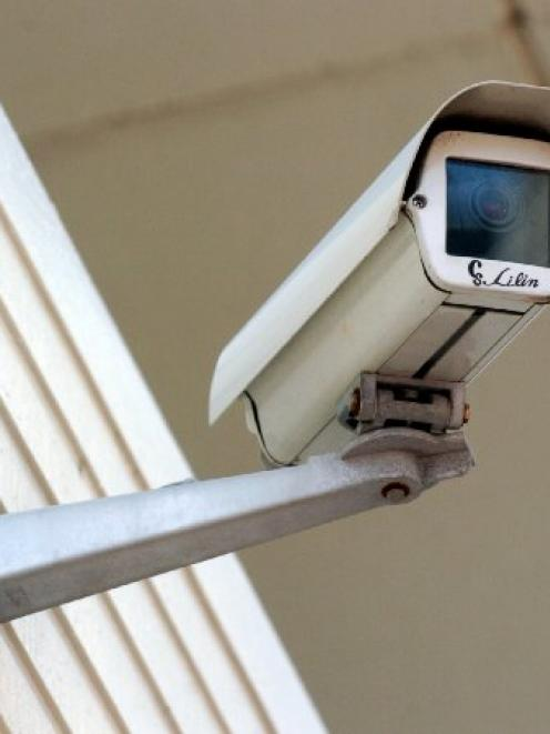 A closed circuit survelliance camera at the Dunedin Public Library plaza. Photo ODT files