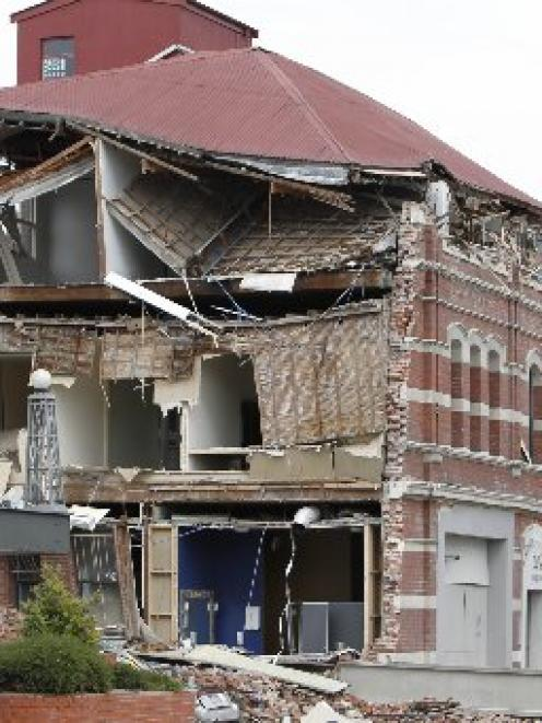 A collapsed building in central Christchurch after February's earthquake. Photo by NZPA.