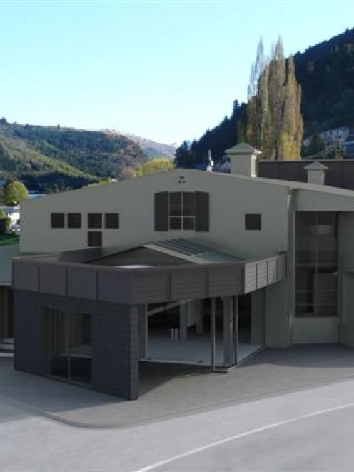 A concept drawing of the Queenstown Memorial Hall after its development. Image by Tony Butel.