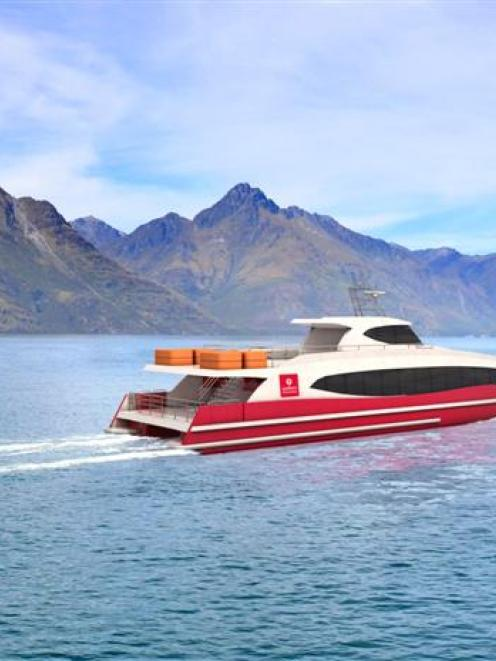 A concept image of the new Southern Discoveries Spirit of Queenstown catamaran on Lake Wakatipu....