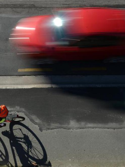 A cyclist on the shared pedestrian/cycle way, in Thomas Burns St, Dunedin. Photo by Gerard O'Brien.