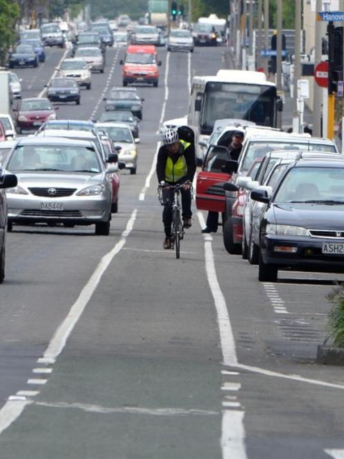 A cyclist utilising a Dunedin cycle lane. Photo by Stephen Jaquiery.