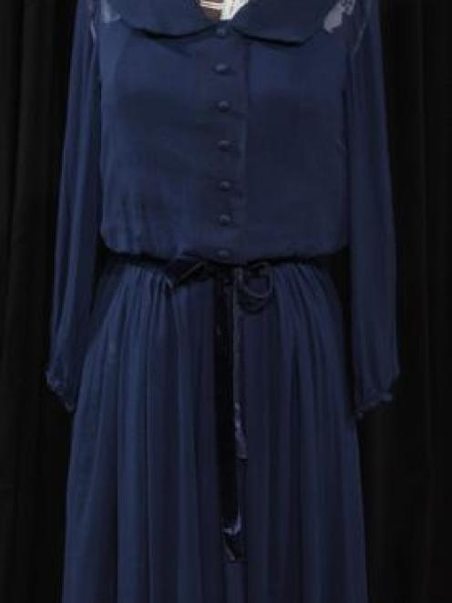 A day dress of silk chiffon over taffeta lining made by Barbara Brinsley, of Dunedin, in 1966.