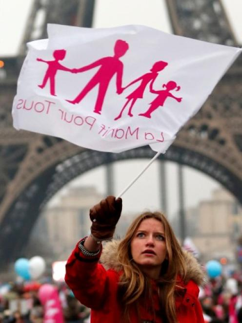 A demonstrator waves a flag on the Champ de Mars near the Eiffel Tower in Paris, to protest...