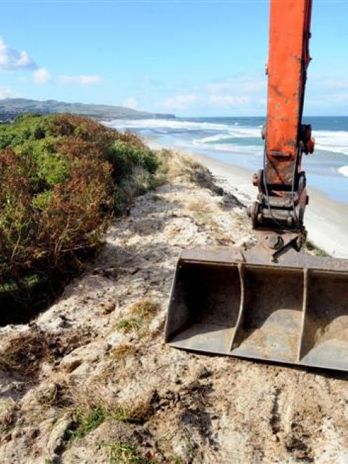 A digger works on top of the sand dunes at Middle Beach. Photo by Stephen Jaquiery.