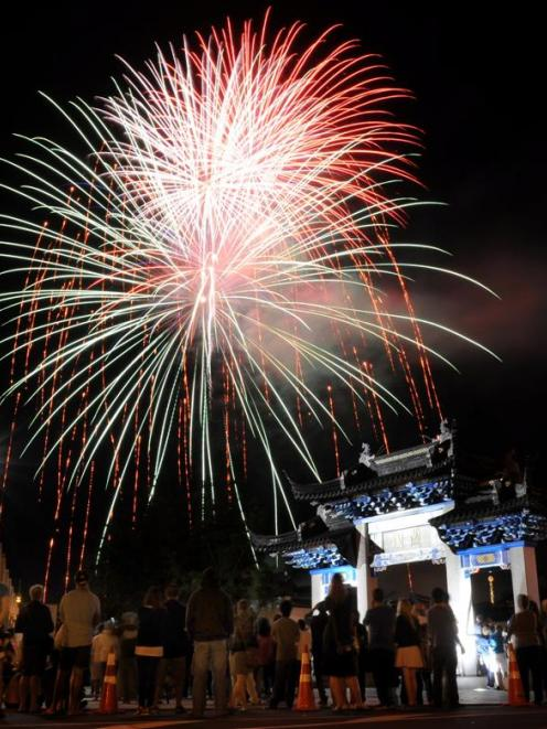 A fireworks display brings to a close Chinese New Year festivities in Dunedin last night. Photo...