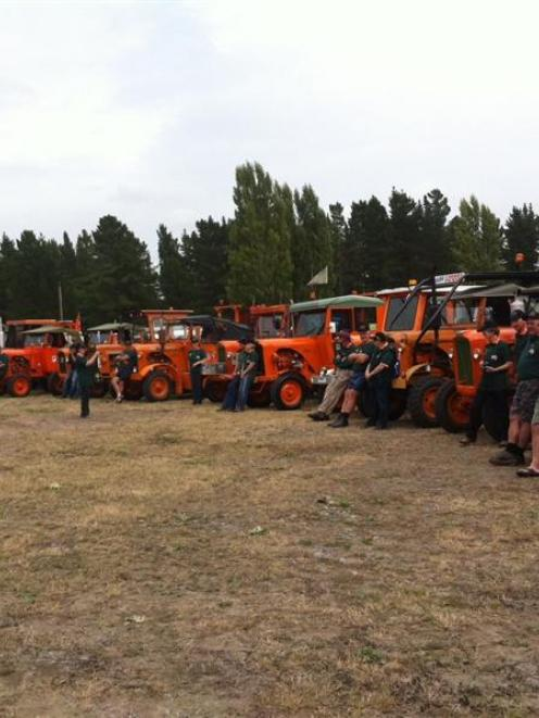 A group of Chamberlain 9G tractor enthusiasts prepare to leave Christchurch on a tractor trek...