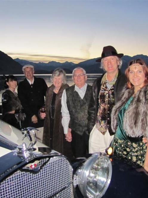 A group of Gatsby  fans in Wanaka getting ready to view the film last night are (from left) Nikki...