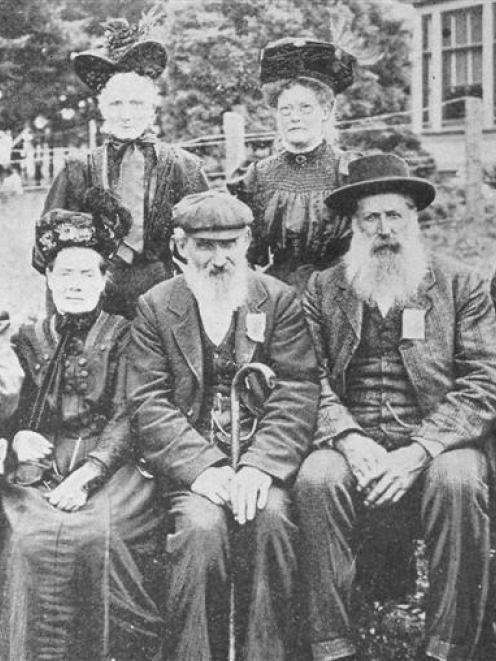A group of pioneers who arrived in Otago before 1860, taken in 1910.  Back row: Mrs Begg and Mrs...