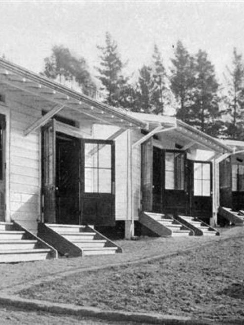 A group of shelters at Pleasant Valley Sanatorium, near Palmerston, where patients are encouraged...