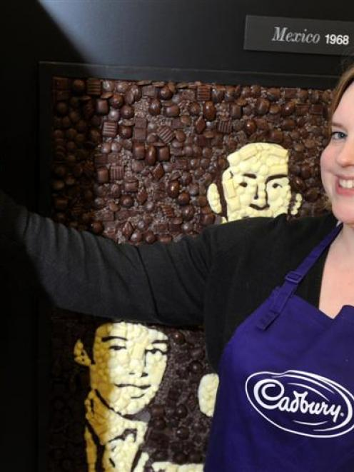 A hall of fame, made entirely of chocolate, is on display in the mall throughout the Dunedin...