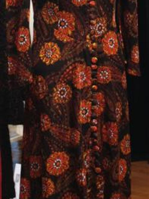 A jersey knit evening dress made in 1965 by Ruth Shepherd, of Omarama.