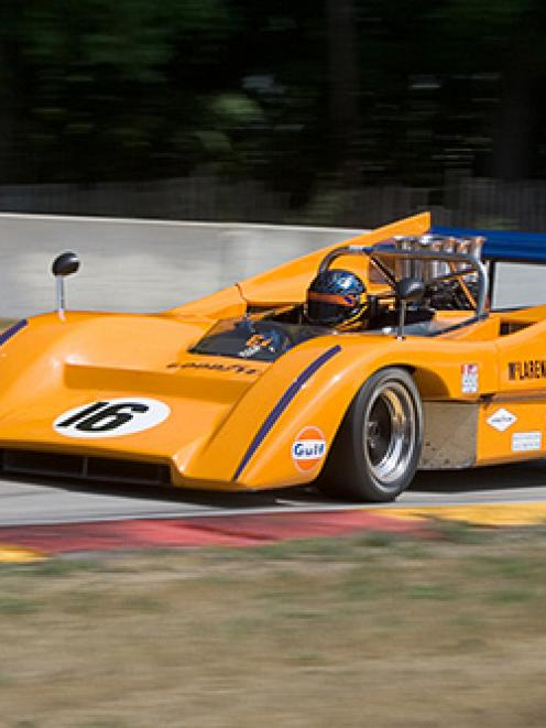 A McLaren M8B CanAm sports car similar to that on display at the National Motorsport Museum at...