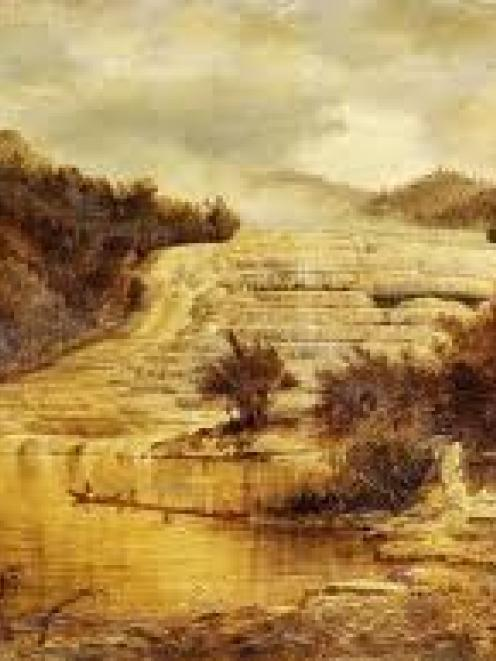A painting of the Pink Terraces by Charles Blomfield.
