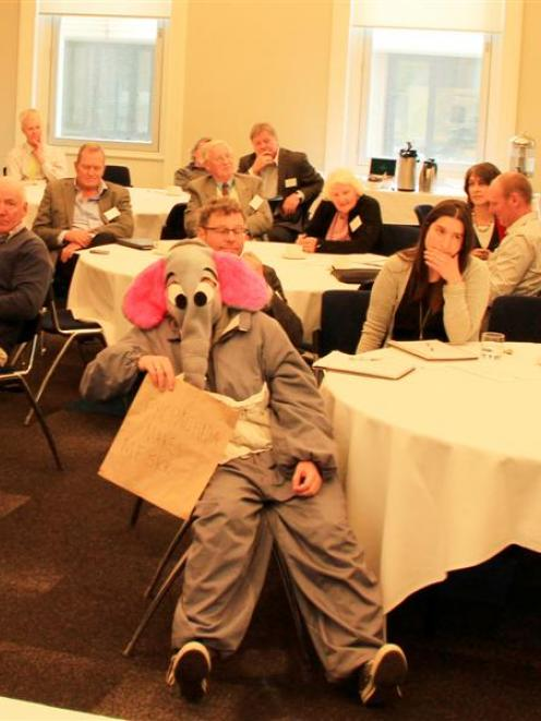 A person in costume takes a central seat in Shell's community engagement workshop in Dunedin this...