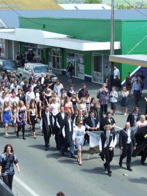 A piper leads the Telford Rural Polytechnic graduation parade down Clyde St yesterday. Photo by...