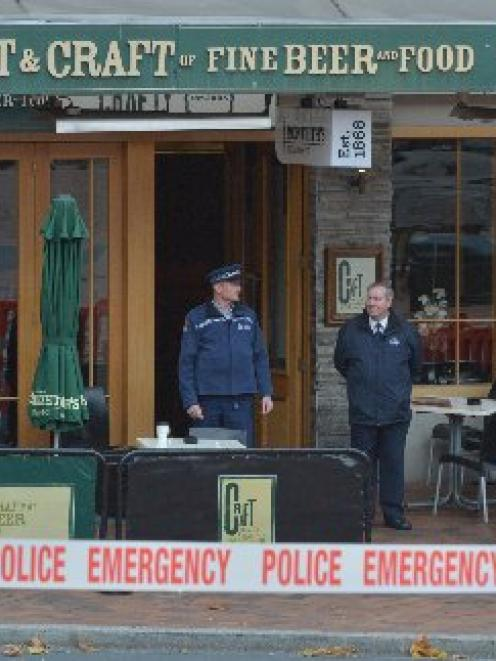 A police cordon outside the Craft Bar in the Octagon after the death.