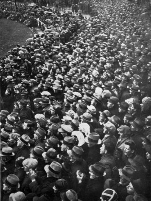 A section of the crowd at the New Zealand v Britain match at Carisbrook in 1930. Photo from the...