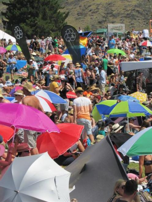 A section of the crowd jostle for position at the  Rippon Music Festival in Wanaka last February....