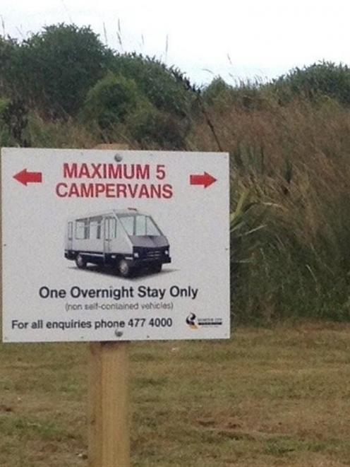 A sign at Ocean View Recreation Reserve. Photo by ODT.